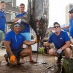 Five guys around their huge marlin in Ocean City during White Marlin open