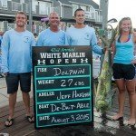 Group of four displaying their mahi mahi during White marlin open 2015