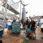 Team standing around their massive 551 lb marlin caught during white marlin open 2015