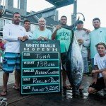 138 lb tuna hanging upside down during white marlin open 2015