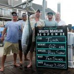 Guys on an Ocean City dock displaying their tuna fish for white marlin open 2015