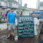 Two guys holding up their mahi mahi fish caught during White Marlin Open