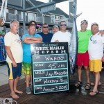 Group of guys standing with their 45 lb wahoo fish during white marlin open 2015