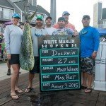 Group standing with their 27 pound mahi mahi dolphin during white marlin open 2015
