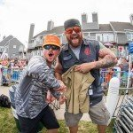 Two guys shaking hands and posing for a picture during white marlin open 2015