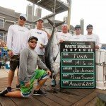 Crew of the Plane Simple fishing boat surrounding their tuna during white marlin open 2015