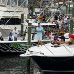 People relaxing on the bows of fishing boats during white marlin open 2015