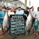 Crew of MJ's fishing boat with their two huge tuna fish caught for white marlin open 2015
