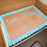 Brown and blue birthday cake for someone named Connor in Ocean City MD