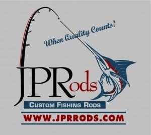 Logo for JPRods featuring a marlin hooked onto a fishing rod